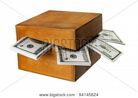 Wooden Box With Dollar Notes