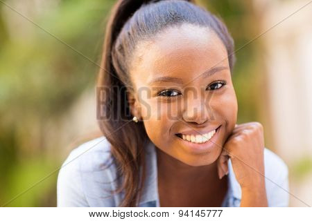 happy african woman close up portrait