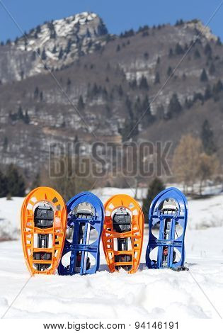 Four Snowshoes In Mountains In Winter