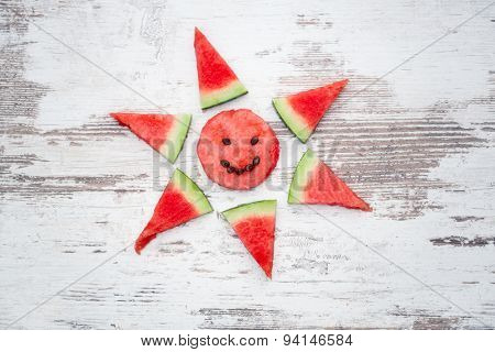 concept summer love,  watermelon slices arranged in form sun