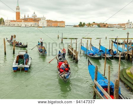 Water transport in Venice.