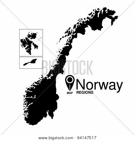 Norway Map detailed vector