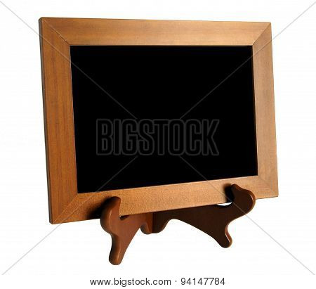 Wooden Stand With Picture Frame Isolated On White