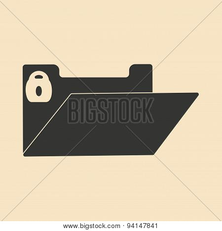 Flat in black and white mobile application file folder block