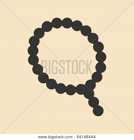 Flat in black and white mobile application rosary