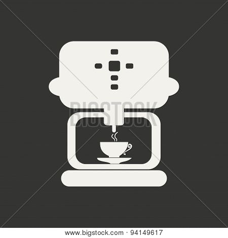 Flat in black and white mobile application coffee maker
