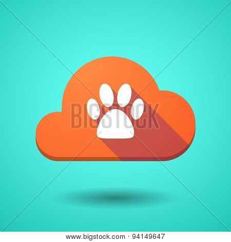 Cloud Icon With An Animal Footprint
