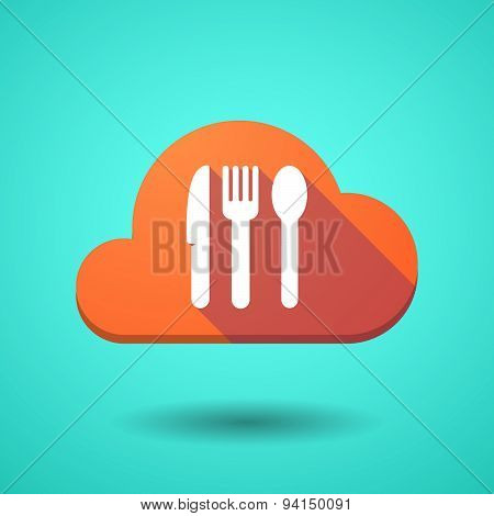 Cloud Icon With Cutlery