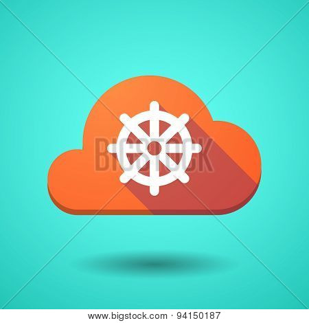 Cloud Icon With A Dharma Chakra Sign