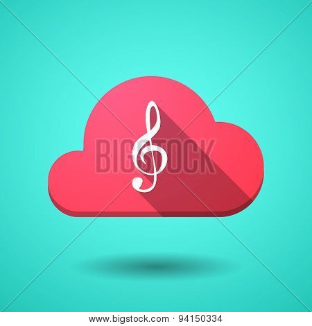 Cloud Icon With A G Clef
