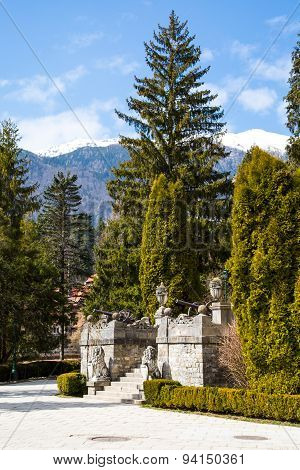Lion Sculptures and staircase in the garden of Peles Castle, Romania