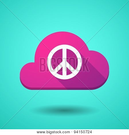 Illustration of a cloud icon with a peace sign