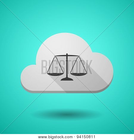 Cloud Icon With A Justice Weight Scale Sign