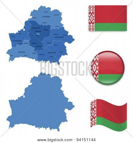 High Detailed Map of Belarus With Flag Icons