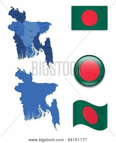 High Detailed Map of Bangladesh With Flag Icons