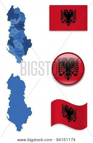 High Detailed Map of Albania With Flag Icons