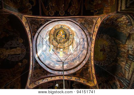 Interior details of the old church at Sinaia Monastery, Romania