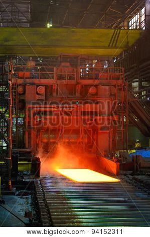 Cooling Hot Steel On Conveyor