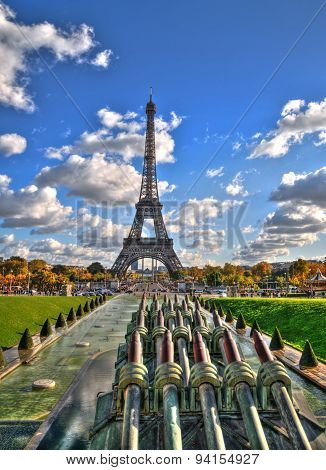 View of the Eiffel Tower from the Trocadero gardens in HDR, Paris
