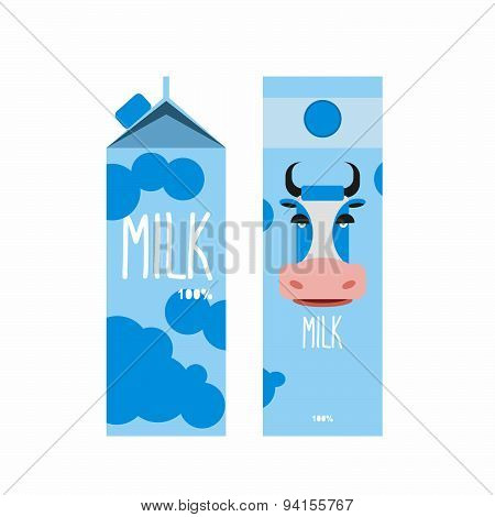 Packaging of milk. Template design Package with blue cow milk. Vector illustration