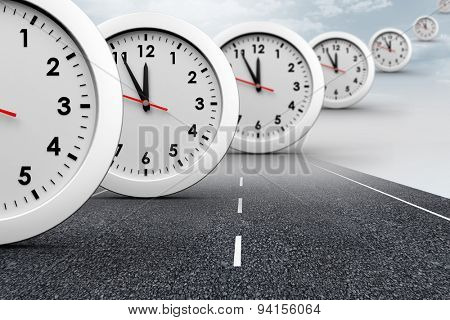 Clocks against cloudy landscape background with street
