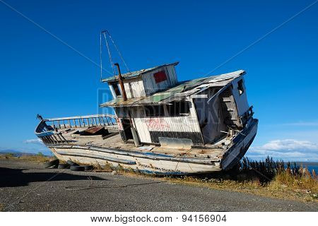 Old Large Boat on Dry Land