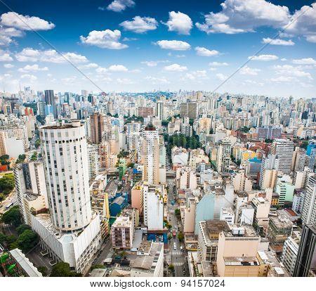 Beautiful panoramic view of San Paolo skyline, Brazil.