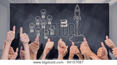 Group of hands giving thumbs up against composite image of black card