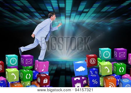 Stepping businessman against digitally generated cool disco design