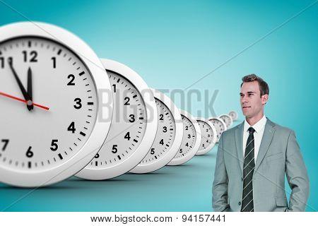 Businessman against blue vignette background