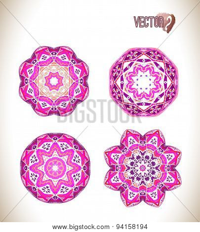 Pink  round ornament pattern
