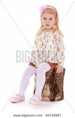 Blond little girl sitting on a birch stump