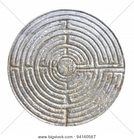 Labyrinth Carved On The Facade Of A Romanesque Church Of The 11Th Century