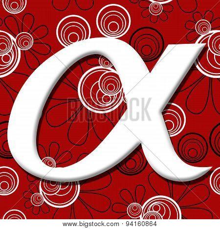 Alpha Symbol Over Red Black Floral Background