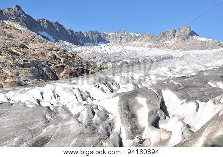 Melting Rhone glacier, Switzerland. View from Furka Pass