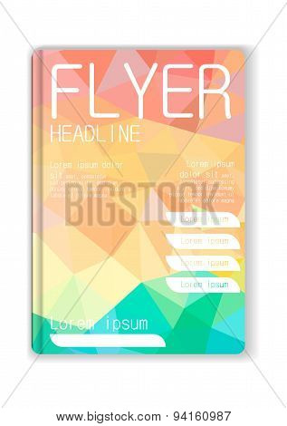 Flyer Abstract Graphic Design Low-poly  Full Color