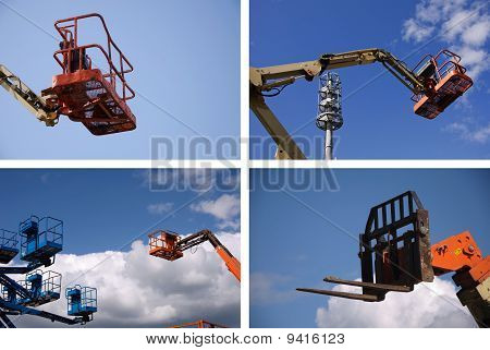 Cherry Picker Raised Into A Blue Sky