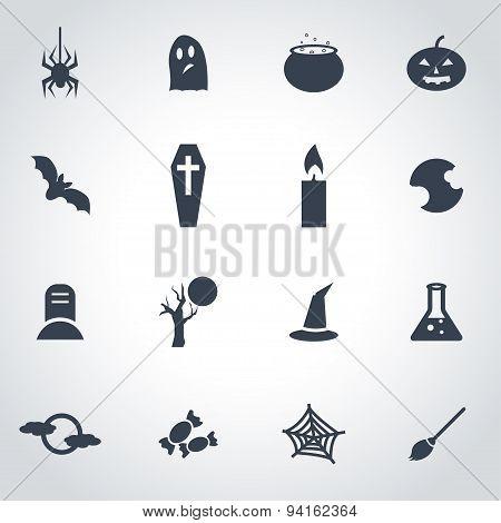 Vector Black Halloween Icon Set
