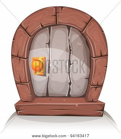 Cartoon Wooden And Stone Hobbit Door