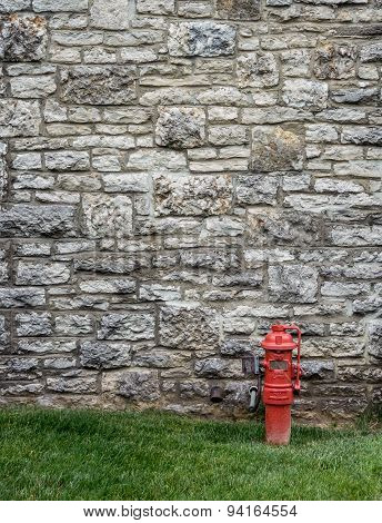 Stone Wall With Fire Hydrant