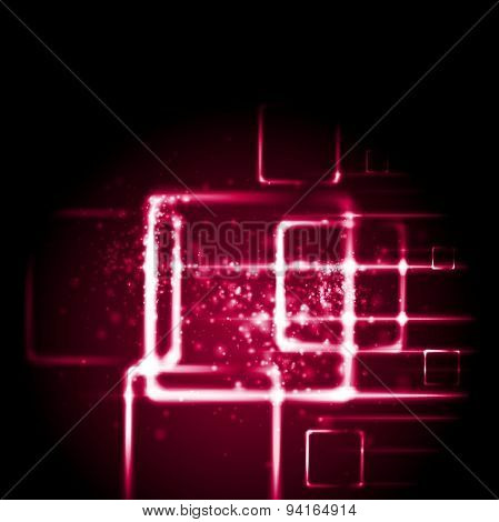 Crimson red sparkling tech background. Vector glow geometric design
