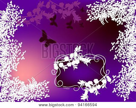 illustration with white floral frame on lilac background