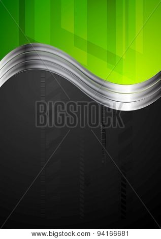 Tech bright background with metallic waves. Vector design