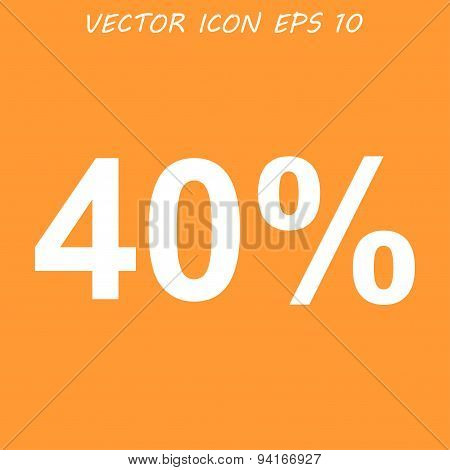 40% Tag Icon, Vector Illustration. Flat Design Style