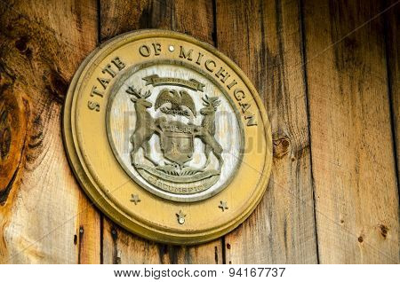 Rustic State Seal Of Michigan