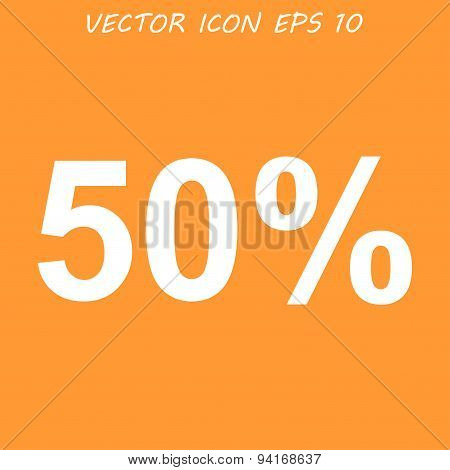 50% Tag Icon, Flat Design Style
