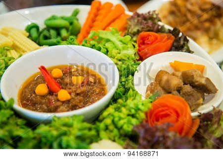 Set Of Fresh Vegetables And Spicy Sauce