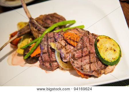 Grilled Beef And Lamb Steak With Vegetables