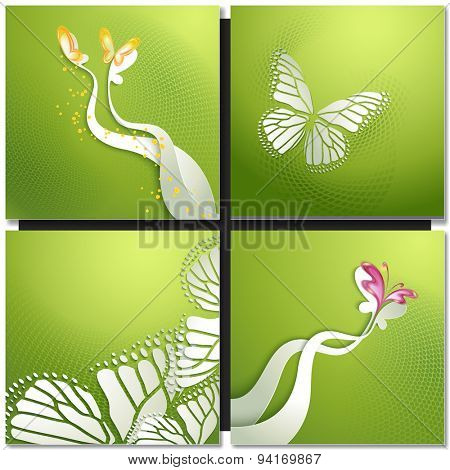 Set of green backgrounds with butterflies and wings