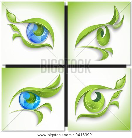 Set of eco icons. Look green,  eye with green leaves and blue globe